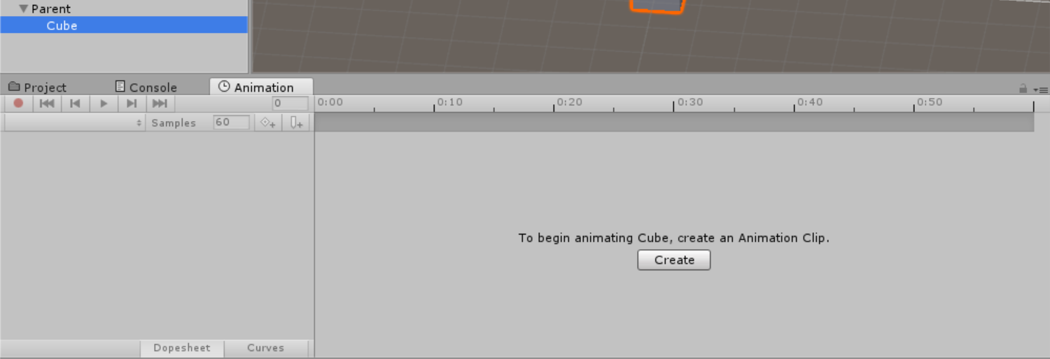 Screen shot of Create Animator Clip