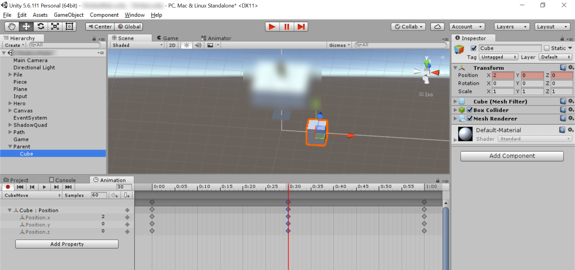 Screen shot of Add Keyframe to Animation